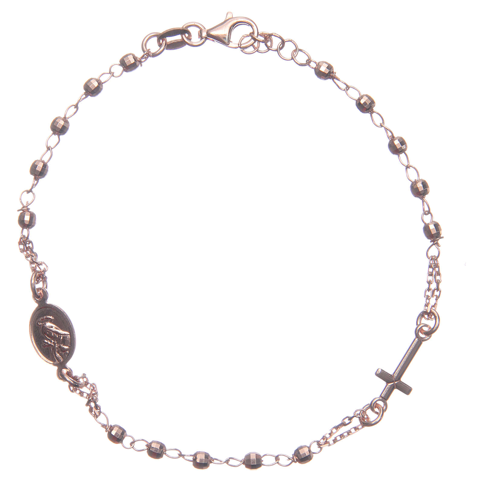 Bransoletka różaniec kolor rose' Święta Rita srebro 925 4