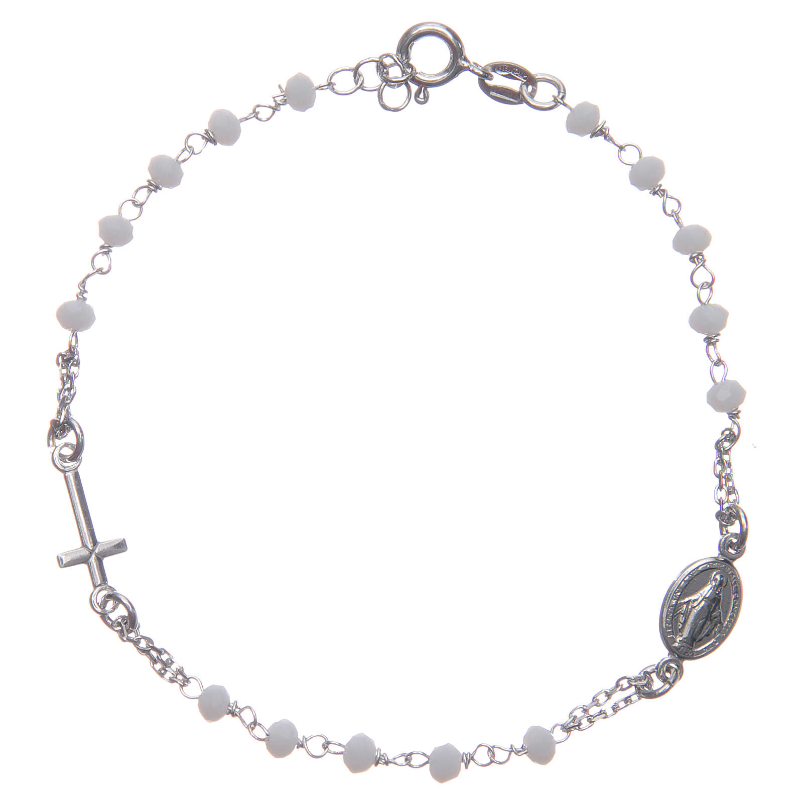 Armband Rosenkranz Santa Rita aus 925er Silber, weiß 4