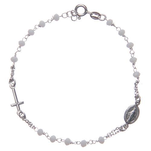 Armband Rosenkranz Santa Rita aus 925er Silber, weiß 1