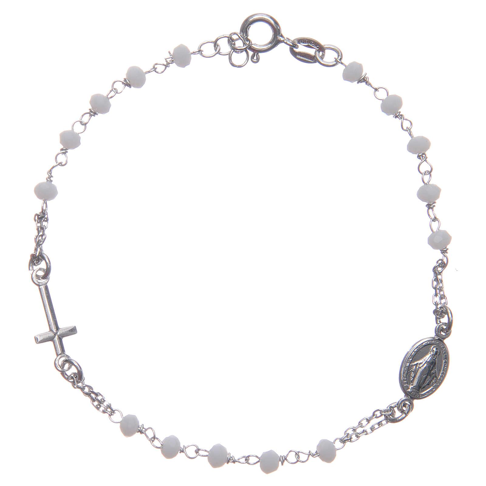 Bracciale rosario colore bianco Santa Rita argento 925 4