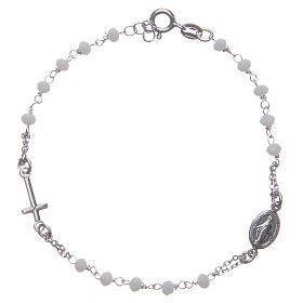 Bransoletka różaniec kolor biały Święta Rita srebro 925 s1