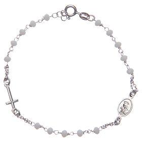Bransoletka różaniec kolor biały Święta Rita srebro 925 s2