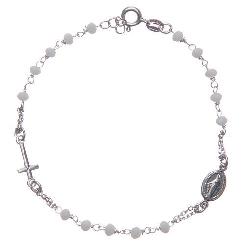 Bransoletka różaniec kolor biały Święta Rita srebro 925 1