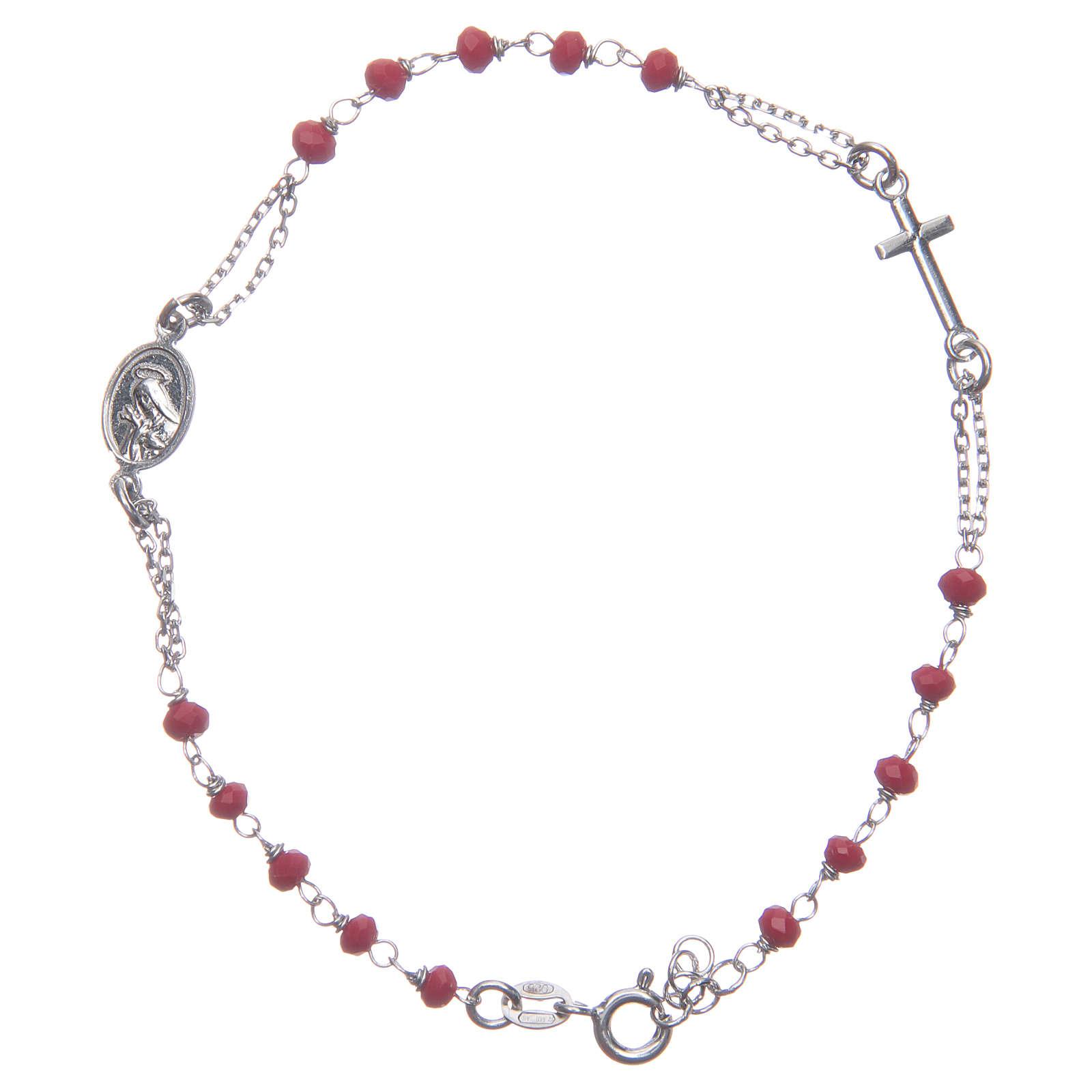 Pulsera rosario color rojo Santa Rita plata 925 4