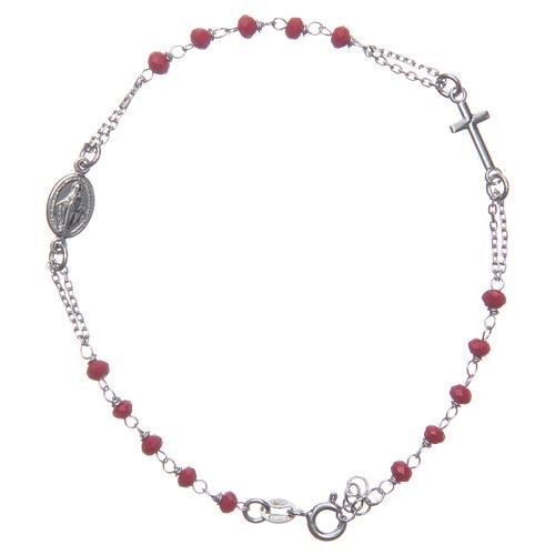 Pulsera rosario color rojo Santa Rita plata 925 1