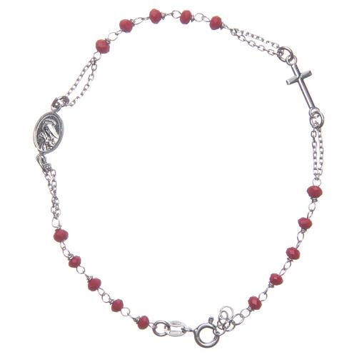 Pulsera rosario color rojo Santa Rita plata 925 2