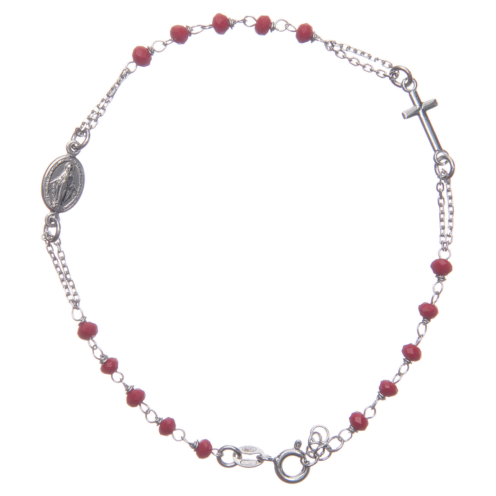 Bracciale rosario colore rosso Santa Rita argento 925 4