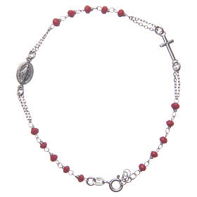 Bracciale rosario colore rosso Santa Rita argento 925 s1