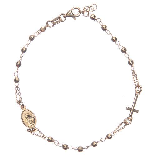 Bransoletka różaniec kolor złoty Święta Rita srebro 925 1