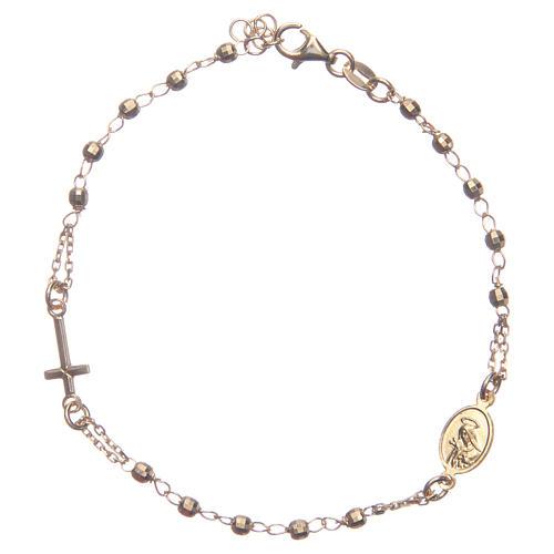 Bransoletka różaniec kolor złoty Święta Rita srebro 925 2