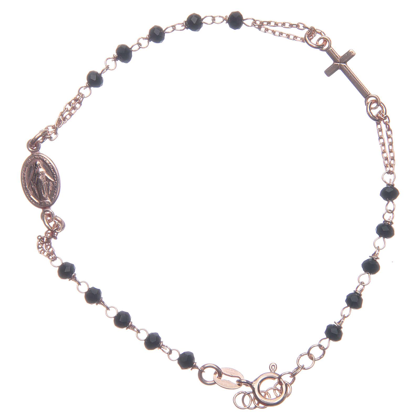 Bracciale rosario Santa Rita rosé nero argento 925 4