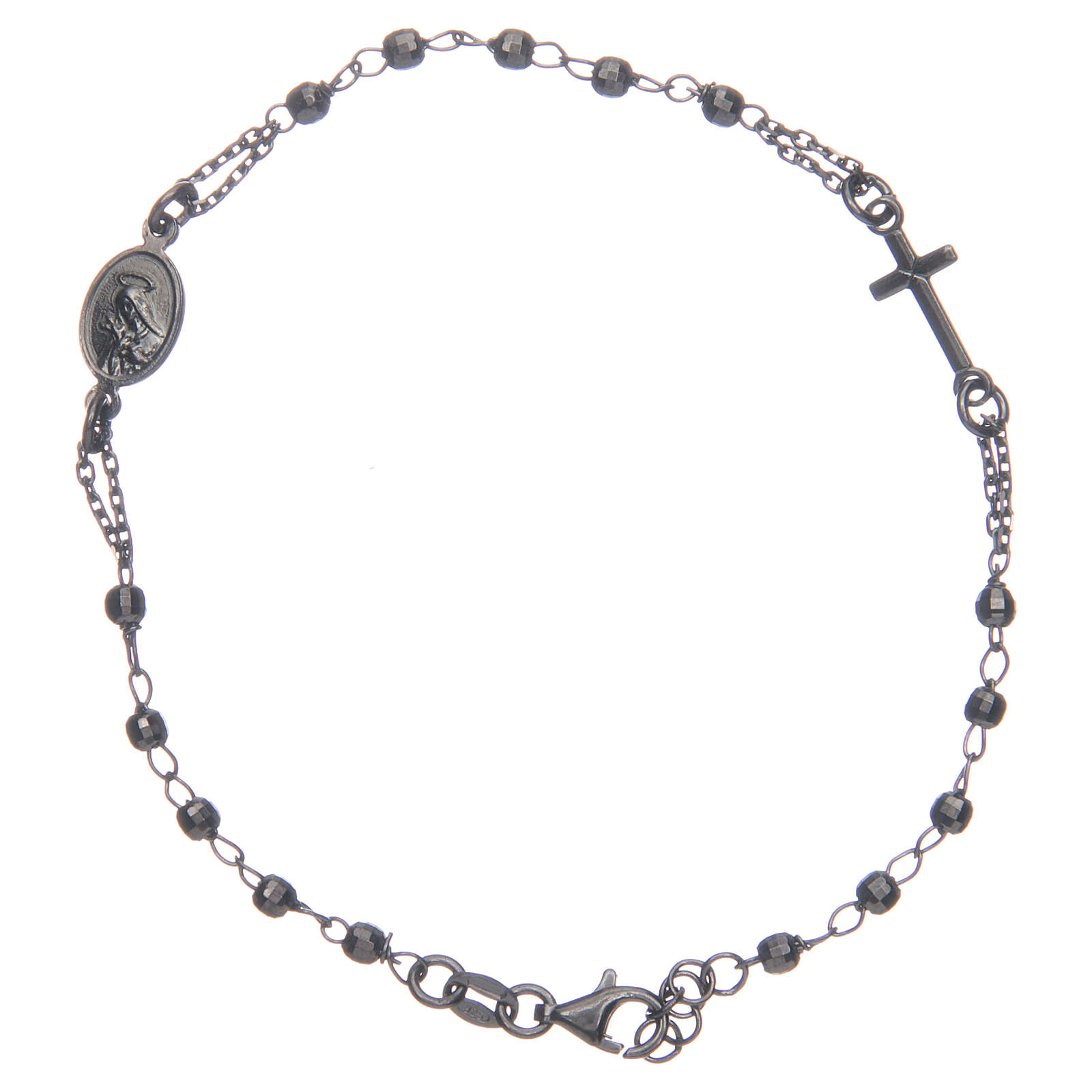 Rosary bracelet Santa Zita smoky grey and black 925 sterling silver 4