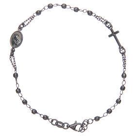 Rosary bracelet Santa Zita smoky grey and black 925 sterling silver s2