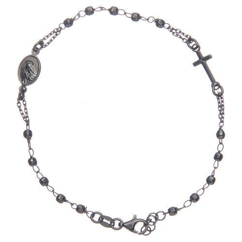 Rosary bracelet Santa Zita smoky grey and black 925 sterling silver 2