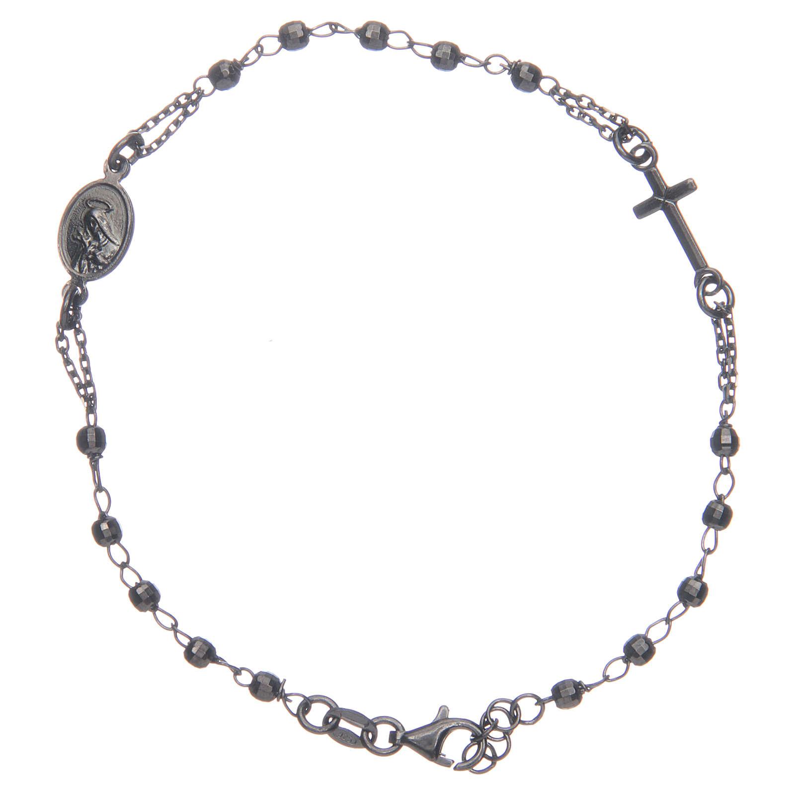 Bracciale rosario nero fumé Santa Rita argento 925 4