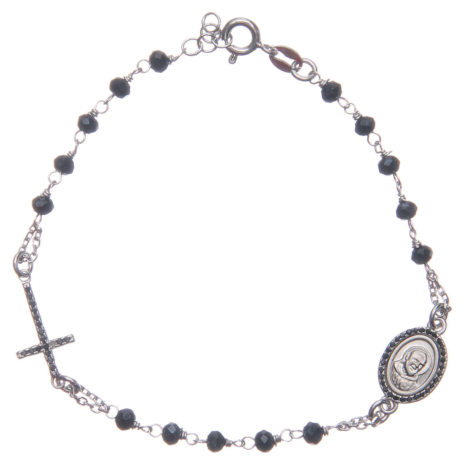 Bracciale rosario Padre Pio blu zirconi neri argento 925 4