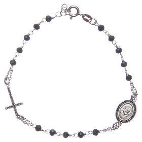 Bracciale rosario Padre Pio blu zirconi neri argento 925 s1