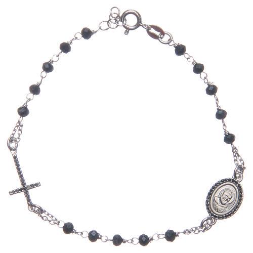 Bracciale rosario Padre Pio blu zirconi neri argento 925 1