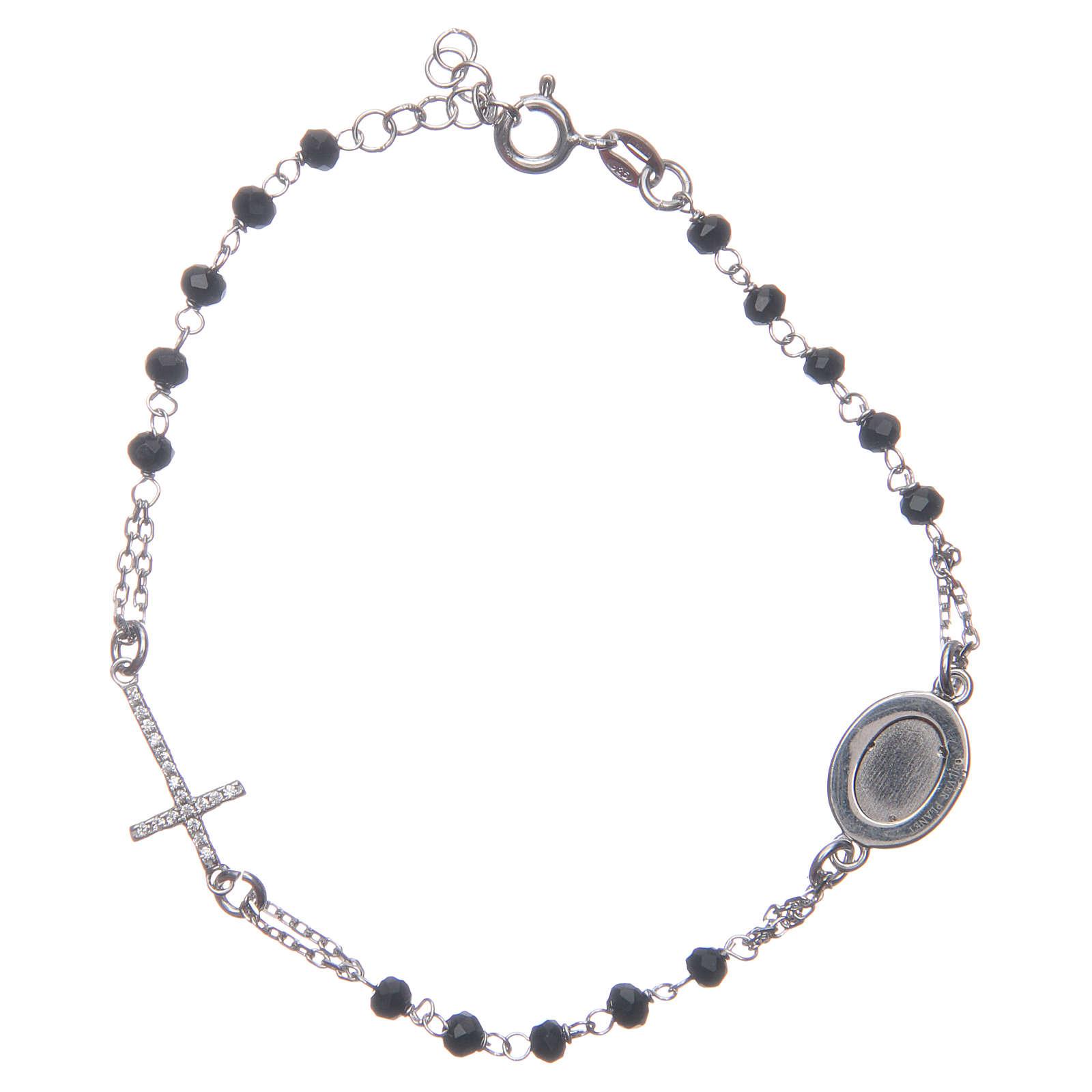 Pulsera rosario Padre Pío negro circones blancos plata 925 4