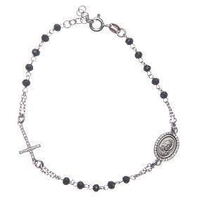 Pulsera rosario Padre Pío negro circones blancos plata 925 s1