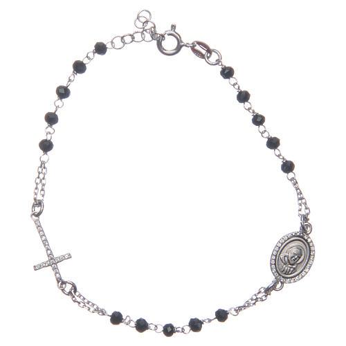 Pulsera rosario Padre Pío negro circones blancos plata 925 1