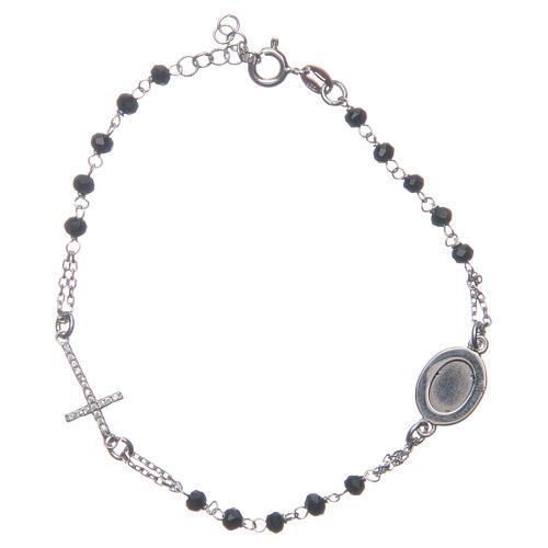 Pulsera rosario Padre Pío negro circones blancos plata 925 2