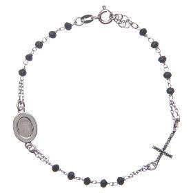 Pulsera rosario Padre Pío negro circones plata 925 s2