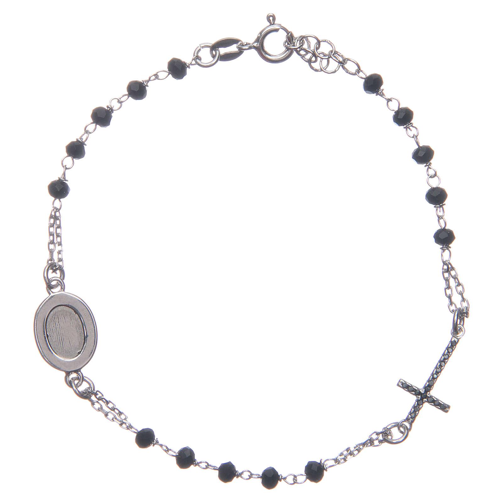 Bracciale rosario Padre Pio nero zirconi neri argento 925 4