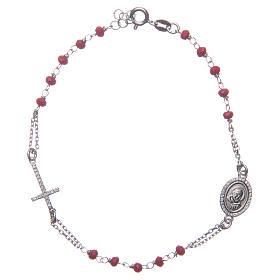Bracciale rosario Padre Pio rosso zirconi bianchi argento 925 s1
