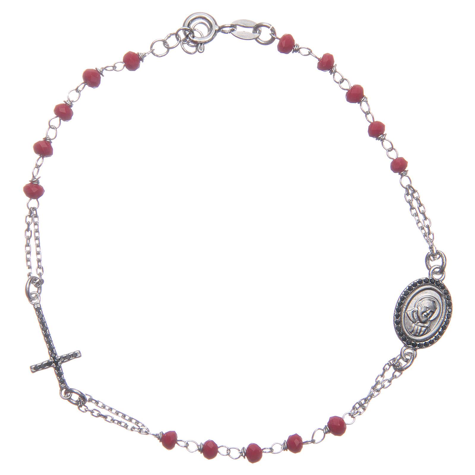 Bracciale rosario Padre Pio rosso zirconi neri argento 925 4
