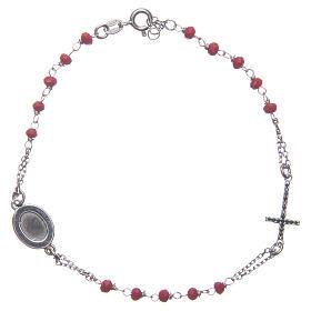 Bracciale rosario Padre Pio rosso zirconi neri argento 925 s2