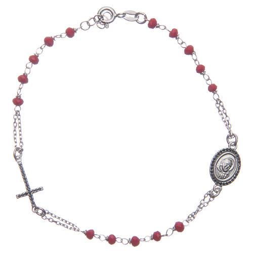 Bracciale rosario Padre Pio rosso zirconi neri argento 925 1