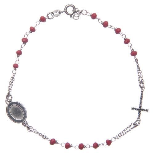 Bracciale rosario Padre Pio rosso zirconi neri argento 925 2
