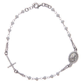 Pulsera rosario Padre Pío blancos circones plata 925 s1