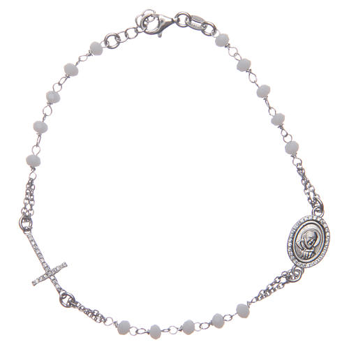 Pulsera rosario Padre Pío blancos circones plata 925 1