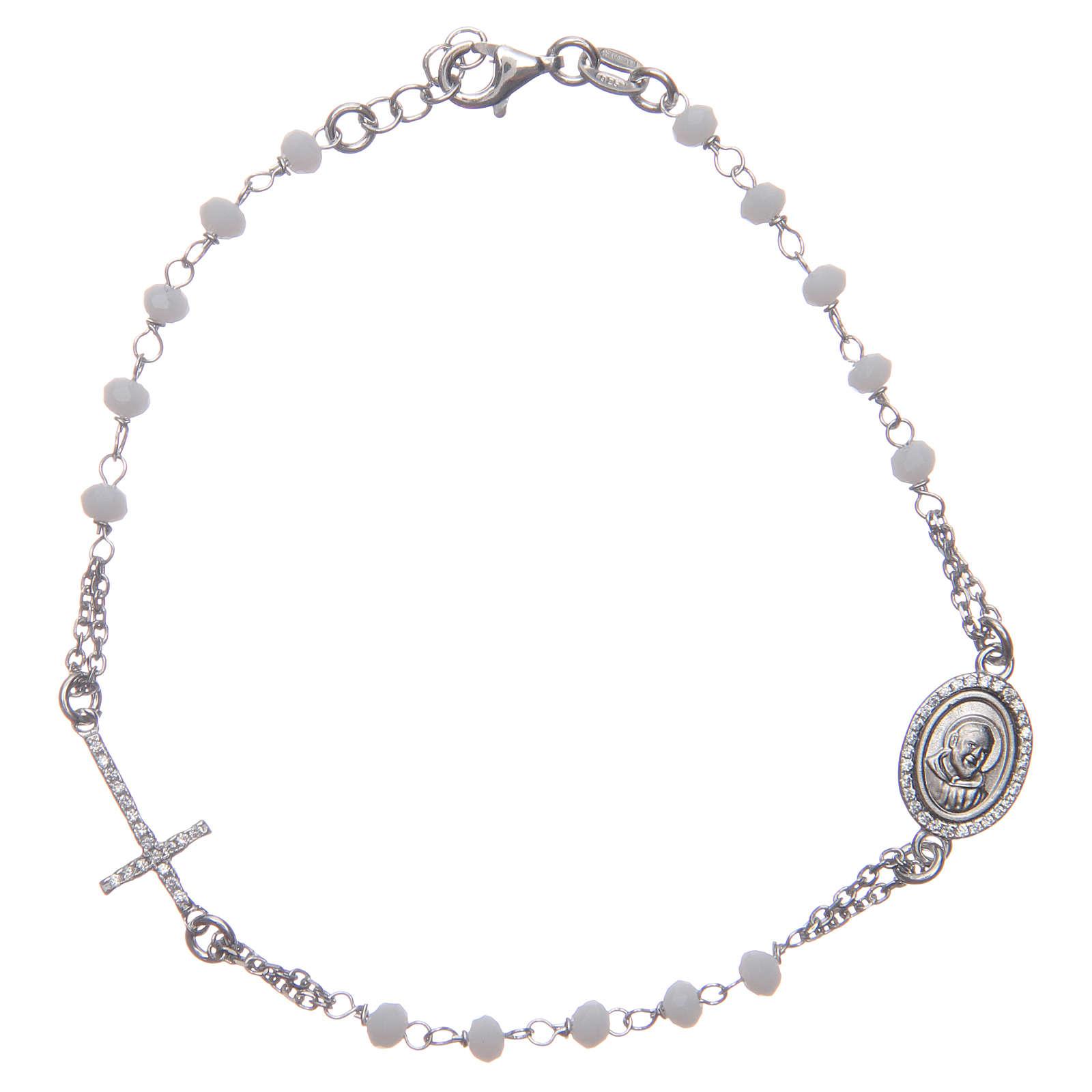 Bracciale rosario Padre Pio bianco zirconi bianchi argento 925 4