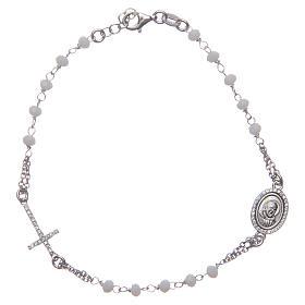 Bracciale rosario Padre Pio bianco zirconi bianchi argento 925 s1