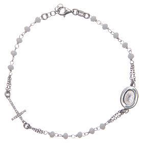 Bracciale rosario Padre Pio bianco zirconi bianchi argento 925 s2