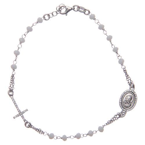 Bracciale rosario Padre Pio bianco zirconi bianchi argento 925 1