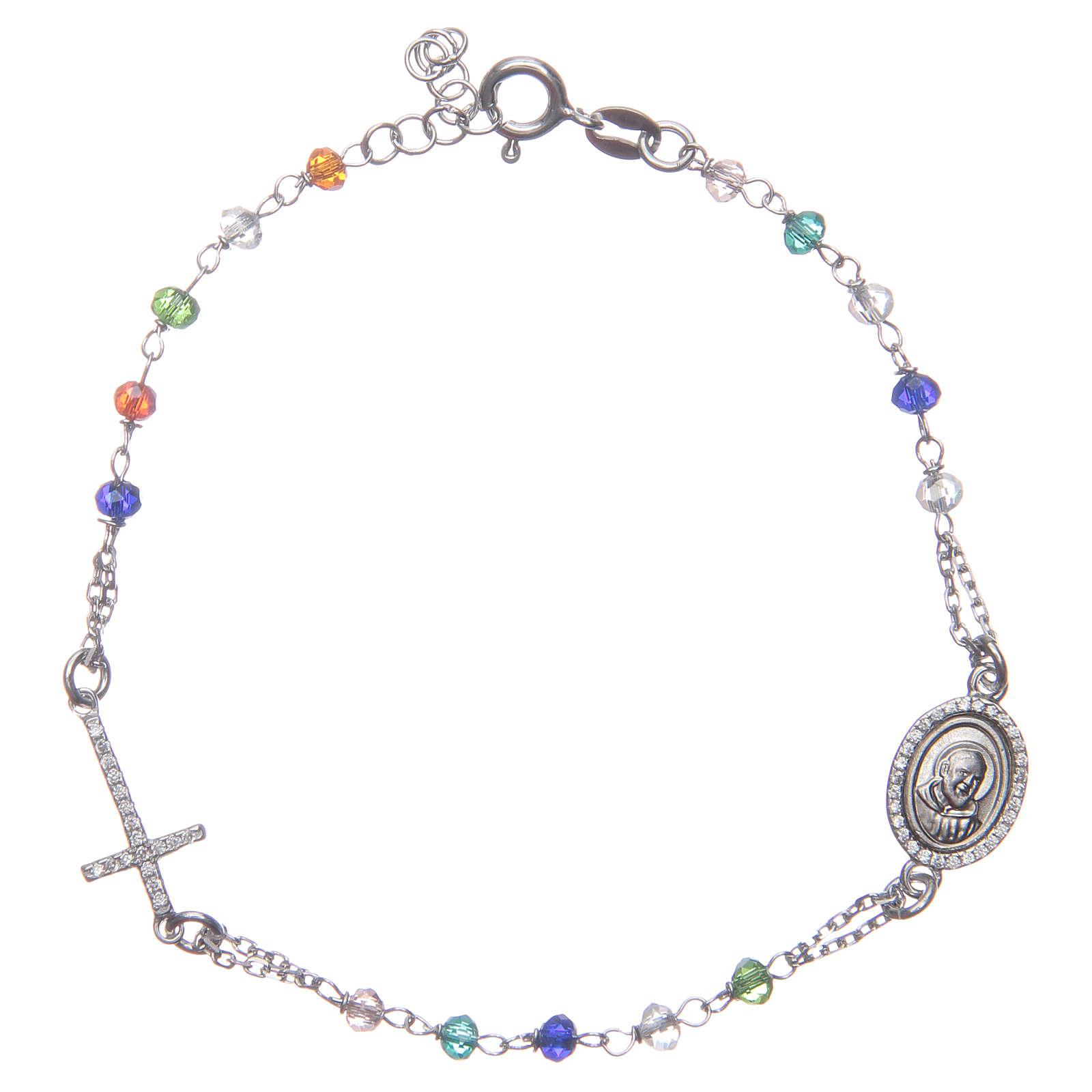 Bracciale rosario Padre Pio multicolor zirconi bianchi argento 925 4