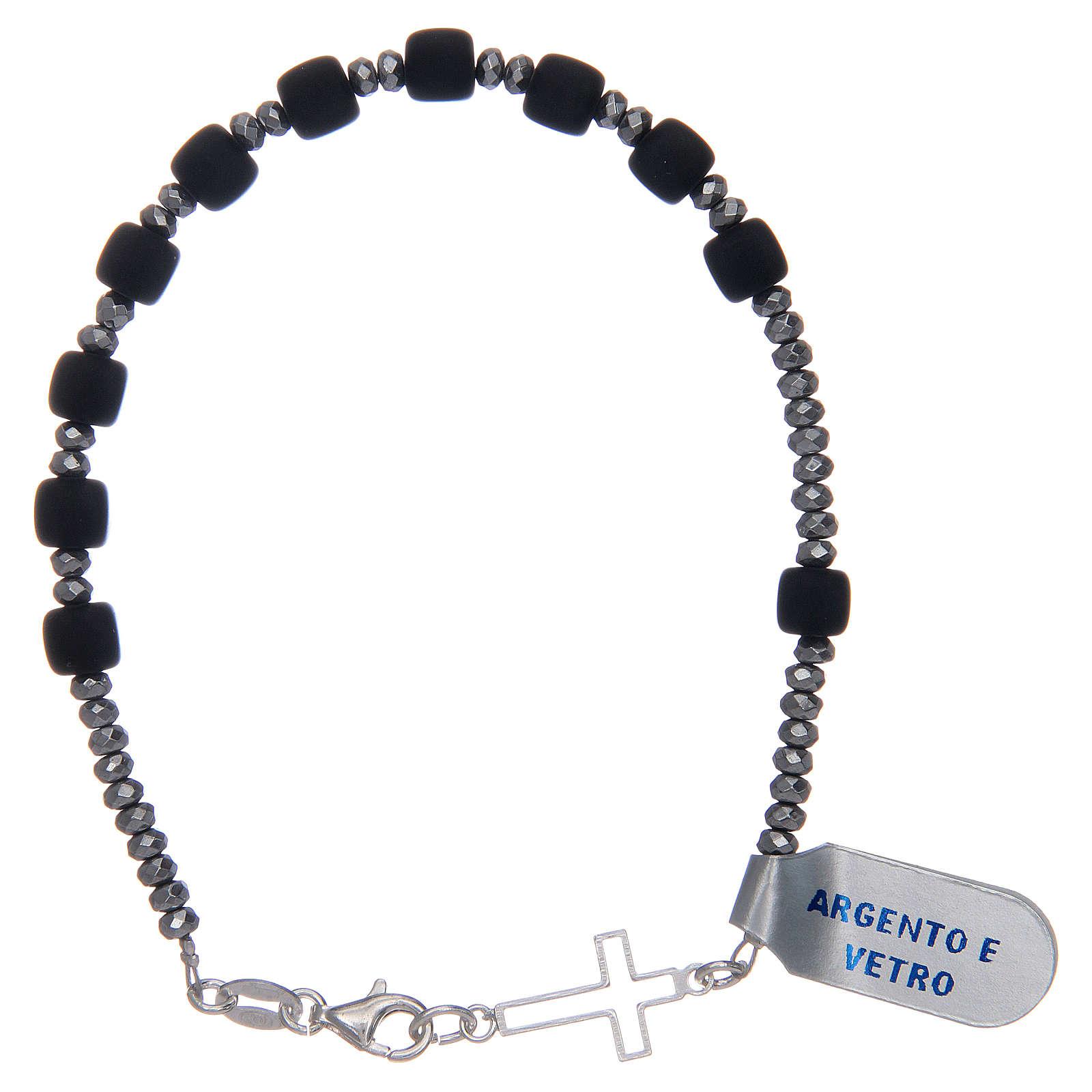 Bracciale rosario argento 925 vetro satinato nero 4