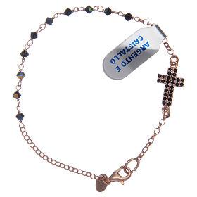 Interlock cross bracelet in pink silver with crystal beads s1