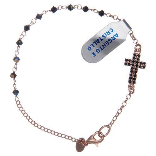Interlock cross bracelet in pink silver with crystal beads 1