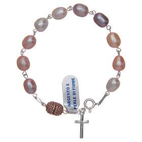Bracciale argento 925 perla di fiume colore rosa 10x7 mm s1