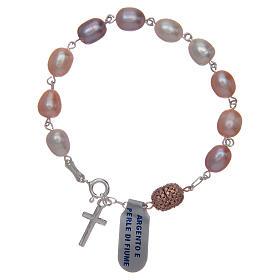 Bracciale argento 925 perla di fiume colore rosa 10x7 mm s2