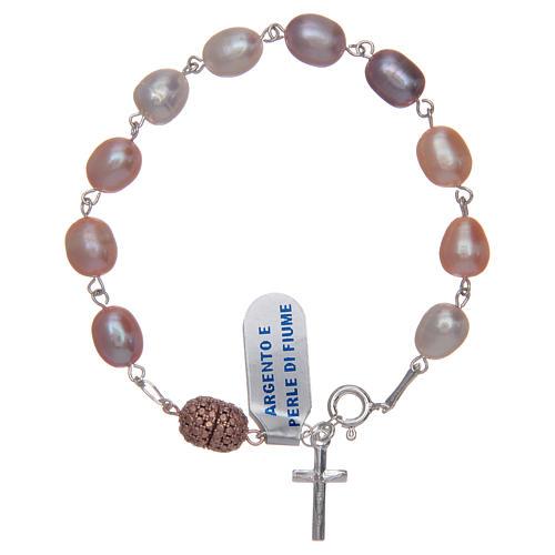 Bracciale argento 925 perla di fiume colore rosa 10x7 mm 1