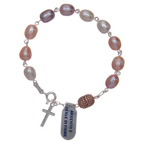 Bracciale argento 925 perla di fiume colore rosa 10x7 mm 2