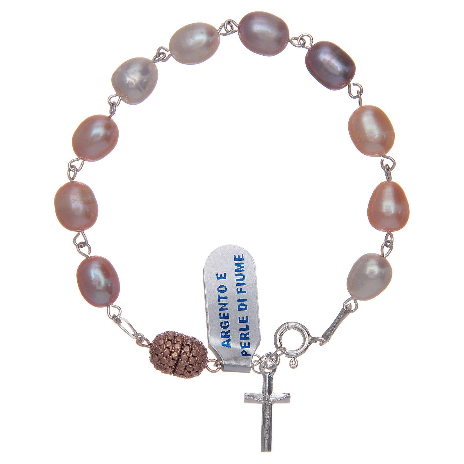 Bransoleta srebro 925 perły słodkowodne kolor różowy 10x7 mm 4