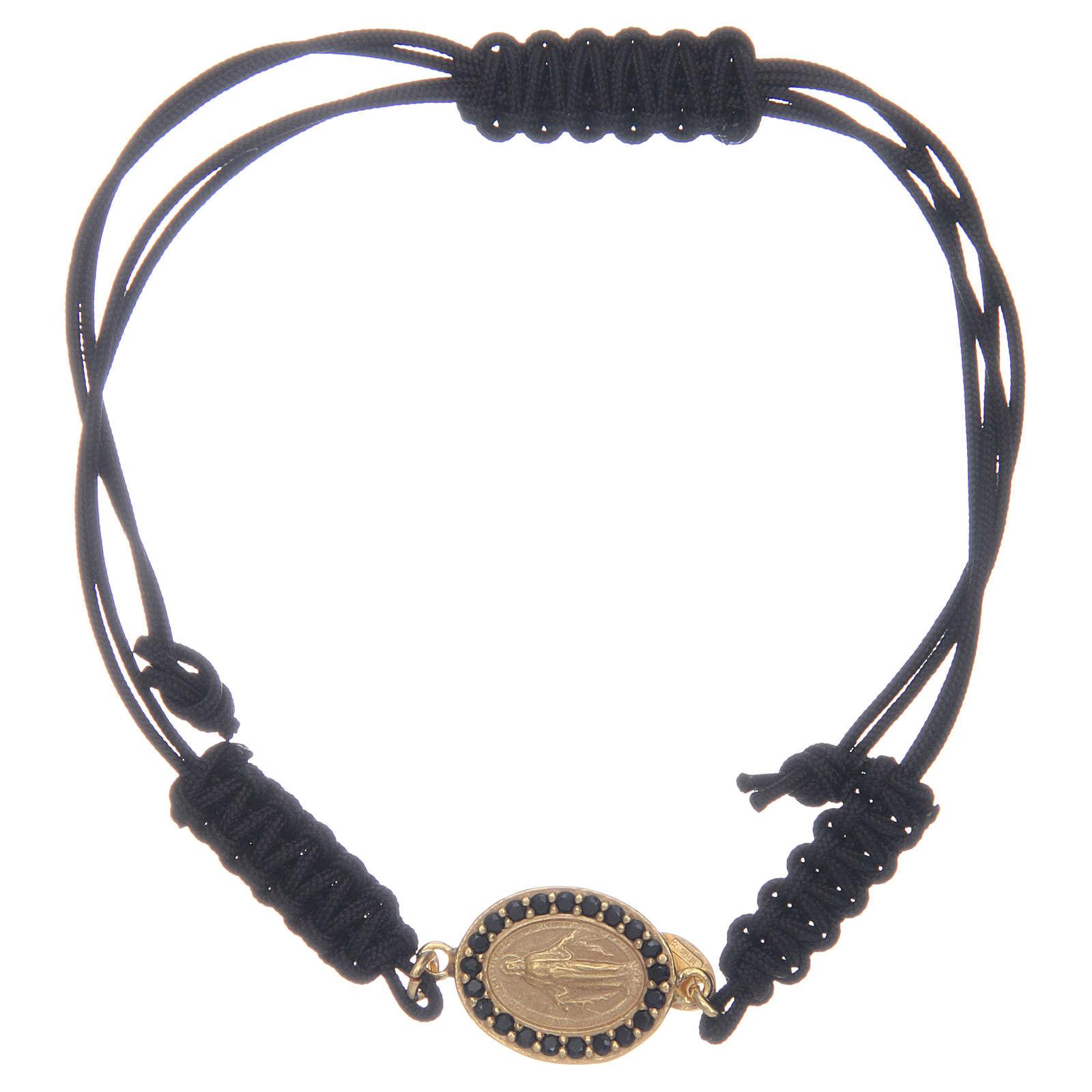 Bracciale cordino argento 925 Miracolosa dorata zirconi neri 4