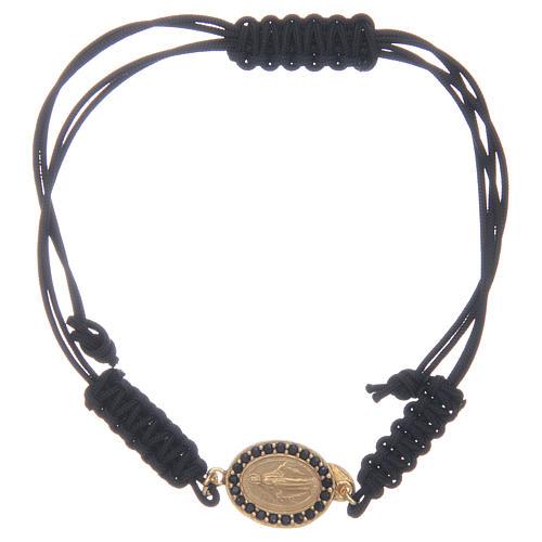 Bracciale cordino argento 925 Miracolosa dorata zirconi neri 1